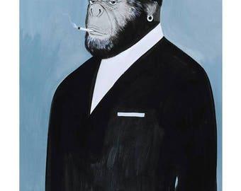 A6 postcard, Portrait of family monkey animal Illustration - Family Portrait Illustration Animals Monkey Postcard card