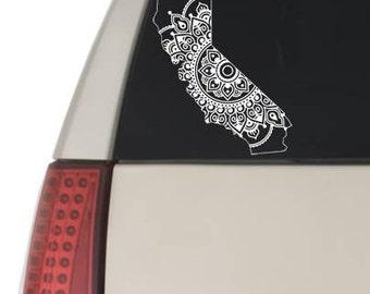 Mandala California State Decal Sticker Car Window Laptop Decal