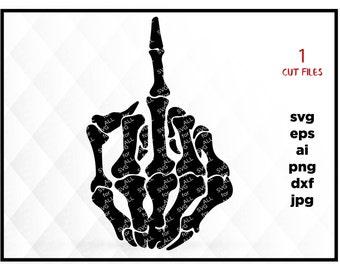 Skull Middle Finger Flip Off Graphics SVG Dxf EPS Png Cdr Ai Pdf Vector Clipart instant download Digital Cut Print File Cricut, fuck you svg