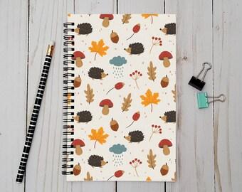 Autumn Writing Journal,  Notebook, Bullet Journal, Planner, Spiral Notebook, Sketchbook