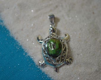 One of a kind Sterling Silver Turquoise Turtle Pendant
