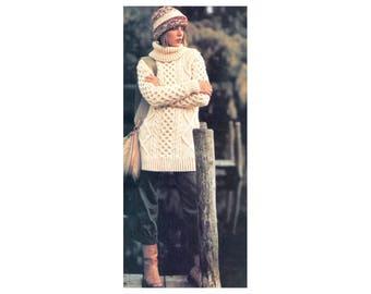 Aran Cable Knit Sweater - Knitting Pattern