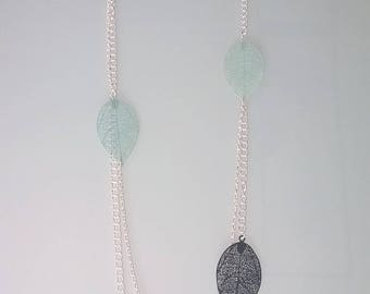 Double Mint/Navy Blue chain necklace