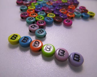 20 letters colors B 7 mm acrylic beads