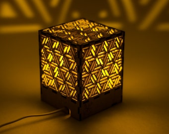 """Decorative cube lamp with """"Geometric"""" pattern/Shadow lamp/Laser cut/Wooden lamp/Silhouette lamp/Night lamp/Plywood lamp/Eco-friendly lamp"""