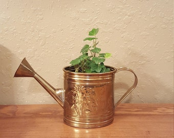 "Vintage brass planter.  Brass watering can planter.   5.5"" planter / boho planter / vintage watering can planter"