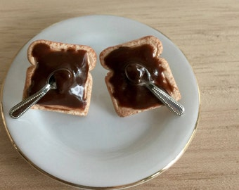 Toast Stud Earrings with chocolate cream and spoon