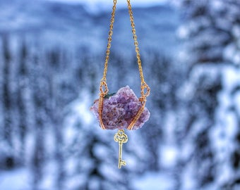 Amethyst Pendant with 14k Gold Charm, Wire Wrapped, Crystal Necklace