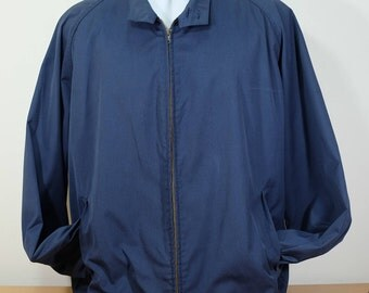 LONDON FOG Vinage Navy Blue Cotton Coat Jacket 46L 70s