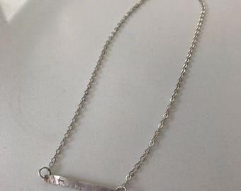 Hammered Sterling bar necklace