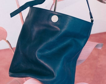 DUEDUE PM1 Double Bucket Bag (Italian Cow Leather) Blu/Rosa