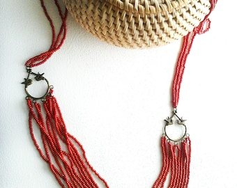 Long antique bronze and Red seed beads