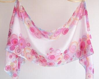 "Hand painted long silk scarf / shawl ""Flower Alley"" by Gabren; beautiful handmade gift for women; 41x172cm (16x67.5"")"
