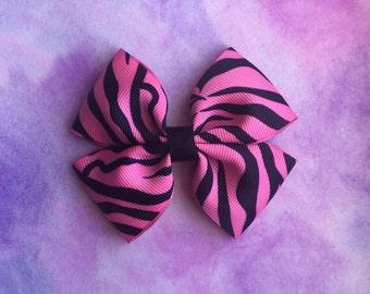 Pink And Black Zebra Print Hair Bow