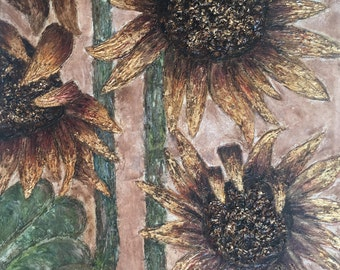 Gold Leaf Detail Sunflower Oil Painting