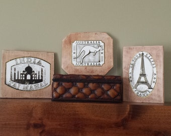 Reclaimed Wood Wall Art Grouping Set of 3 Travel Group India Taj Mahal, Australia, Eiffel Tower France Rustic Wood Signs Shelf or Wallhang
