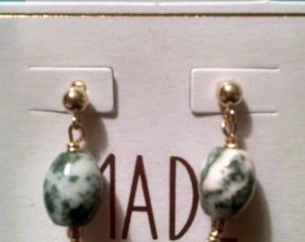 Tree Agate and Gold Filled Earrings