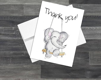 Set of Elephant on a Swing Thank You Cards & Envelopes