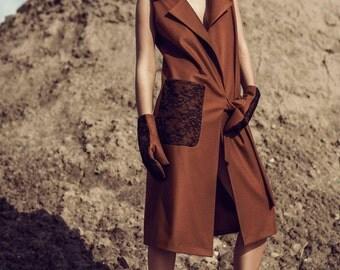 Sleeveless coat   long wool coat   spring coat   coats for women   from ManonMondan