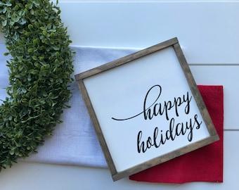 happy holidays sign, happy holidays wood sign, holiday sign, christmas signs, christmas wood signs, christmas wood decor