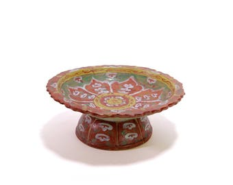 Thai painted footed pedestal plate