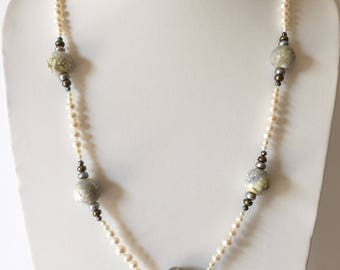 """29"""" Opera station necklace. Real, genuine cultured Freshwater Pearls & Agate. White Blue-Gray Green Black. Bold, Striking, Statement Jewelry"""