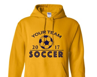 Custom Hoodie Soccer Customizable Hooded Sweatshirt Heavy Blend Sweaters Team Sports Event Wholesale Bulk Personalized Silk Screen Printed