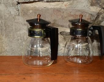 Set of 2, PYREX, 2 cup, Vintage, Silex, Coffee, Carafe, LCR 2, Mid Century Modern, MCM, Retro, Vintage Glass, Mod design, mini