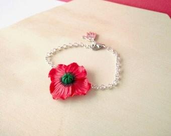 Poppies-Adjustable bracelet with fimo/handmade polymer clay poppy