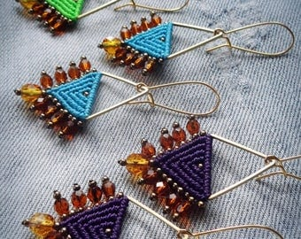 macrame beaded earrings, czech fire polished faceted beads
