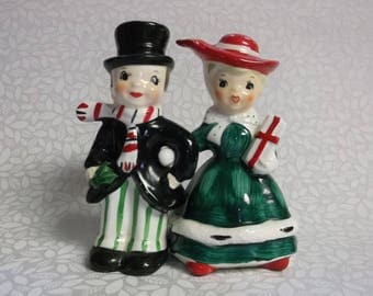 Vintage Lefton Christmas Couple Salt and Pepper shakers