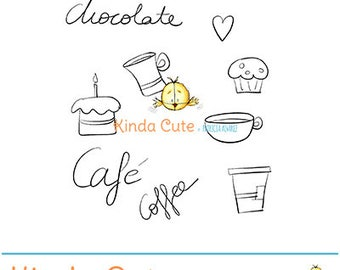 Chocolate doodles digital stamp set (black/white only). Instant download. For card making, scrapbooking and planners