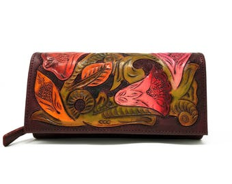 Burgundy womens leather wallet, handmade wallet, hand painted wallet, tooled leather, floral, carved, clutch, womens wallet, ladies wallet