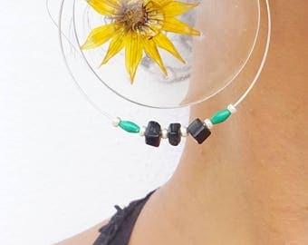 Boucles d'oreilles créoles Fleurs et Résine FAIT MAIN //Vrais fleurs dans la résine//Bijoux femmes//Cadeaux pour elle//Nature et Beauté//