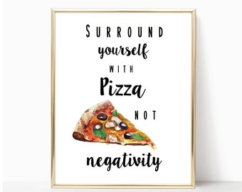 Pizza quote print, pizza printable, pizza lover gift, pizza wall art, pizza decor, motivation print, funny quote print, humorous quote print