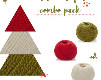 Christmas 3 Balls Combo Pack - Knitting Yarn DK - Christmas Baby Outfit - Soft Wool Blanket Yarn - Christmas Crochet DK Yarn-  Christmas Hat