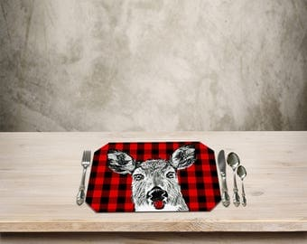Deer Placemat,Rustic Table Place mat,Deer, Doe,Deer Kitchen Decor,Checker Pattern, Add a Fun Rustic Cottage Touch to your Kitchen Table.