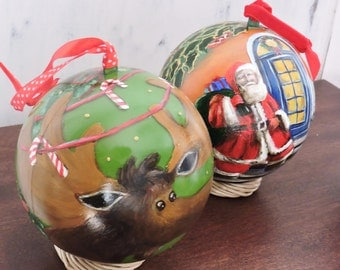 3 hand painted CHRISTMAS TREE ORNAMENTS,