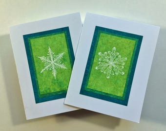 Snowflake on summer greens blank cards (set of 2), individually handmade: A2,?holiday cards, solstice cards, let it snow, SKU BLA2