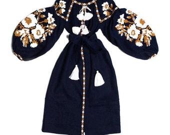 Vishivanka Ukrainian Dress Custom Embroidery Boho Dresses Kaftan Abaya Caftan Embroidered Dresses Ethnic Ukraine Bohemian Clothes