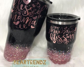 Mommy and Me Glitter Dipped Stainless Steel Tumbler Cup