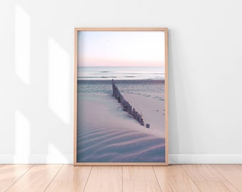 Beach Wall Art Printable, Pastel Wall Art, Beach Wall Decor, Beach Printable Art, Pink Printable Poster, Digital Art Print, Digital Download