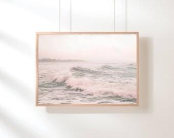 Ocean Water, Ocean Waves Print, Ocean Water Print, Pink Pastel Ocean Wall Art, Beach Art, Blue Pink Pastel Printable Poster, Digital Print