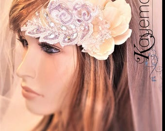 Mauve Wedding Hair Comb / Floral Bridal Hairpiece / Boho Wedding Hair Comb / Crystal Beaded Wedding Headband / Ethereal Wedding / Birdcage