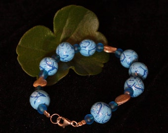 Favorite bracelet sky blue with silver hearts