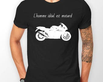 "T-shirt ""the man is biker"" black"