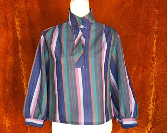 Crop Top, Vintage 1980s Blouse, Women's Large Shirt, Purple Stripes