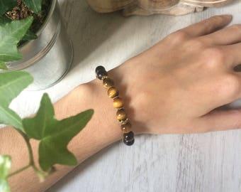 Bracelet inspiration mala, oeil de tigre et plaqué or 14k, bien-être, méditation, spiritualité