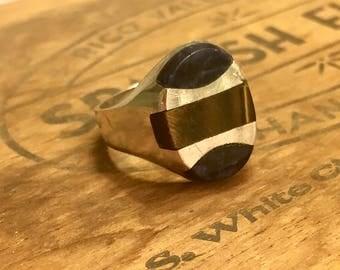 Vintage Tiger Eye and Lapis Lazuli Ring