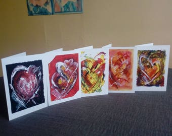 Set of 5 Hand Made Greeting/Occasion Cards with bold abstract heart motifs